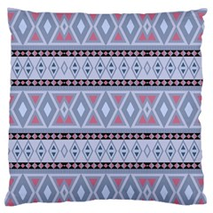 Fancy Tribal Border Pattern Blue Large Flano Cushion Cases (One Side)