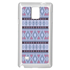 Fancy Tribal Border Pattern Blue Samsung Galaxy Note 4 Case (white)