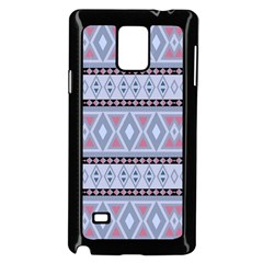Fancy Tribal Border Pattern Blue Samsung Galaxy Note 4 Case (Black)