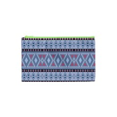 Fancy Tribal Border Pattern Blue Cosmetic Bag (XS)