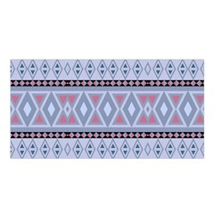 Fancy Tribal Border Pattern Blue Satin Shawl