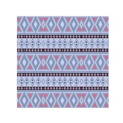 Fancy Tribal Border Pattern Blue Small Satin Scarf (square)