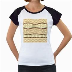 Fancy Tribal Border Pattern Beige Women s Cap Sleeve T