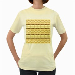 Fancy Tribal Border Pattern Beige Women s Yellow T Shirt