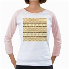 Fancy Tribal Border Pattern Beige Girly Raglans