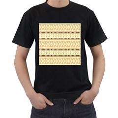 Fancy Tribal Border Pattern Beige Men s T-Shirt (Black) (Two Sided)