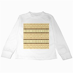 Fancy Tribal Border Pattern Beige Kids Long Sleeve T-Shirts