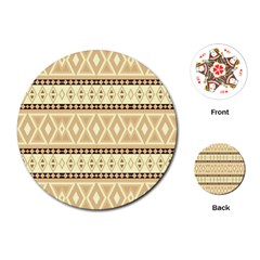 Fancy Tribal Border Pattern Beige Playing Cards (Round)
