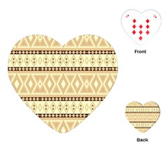 Fancy Tribal Border Pattern Beige Playing Cards (heart)