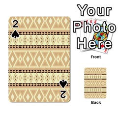 Fancy Tribal Border Pattern Beige Playing Cards 54 Designs