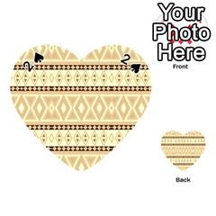 Fancy Tribal Border Pattern Beige Playing Cards 54 (Heart)