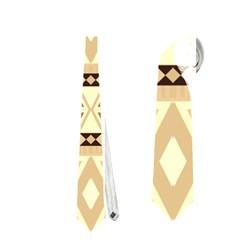 Fancy Tribal Border Pattern Beige Neckties (One Side)