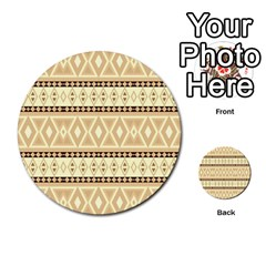 Fancy Tribal Border Pattern Beige Multi Purpose Cards (round)