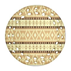 Fancy Tribal Border Pattern Beige Ornament (Round Filigree)