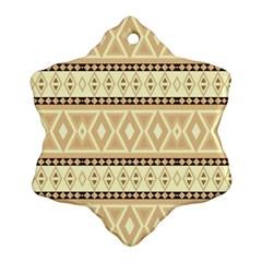 Fancy Tribal Border Pattern Beige Snowflake Ornament (2-Side)