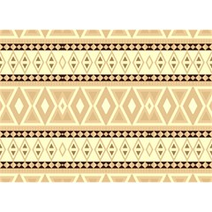 Fancy Tribal Border Pattern Beige Birthday Cake 3D Greeting Card (7x5)