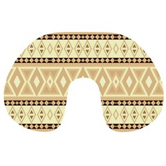 Fancy Tribal Border Pattern Beige Travel Neck Pillows