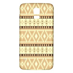 Fancy Tribal Border Pattern Beige Samsung Galaxy S5 Back Case (white)