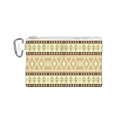 Fancy Tribal Border Pattern Beige Canvas Cosmetic Bag (S)