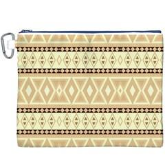 Fancy Tribal Border Pattern Beige Canvas Cosmetic Bag (XXXL)