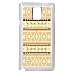 Fancy Tribal Border Pattern Beige Samsung Galaxy Note 4 Case (White)