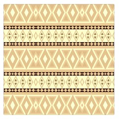 Fancy Tribal Border Pattern Beige Large Satin Scarf (Square)