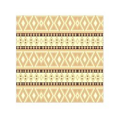 Fancy Tribal Border Pattern Beige Small Satin Scarf (Square)