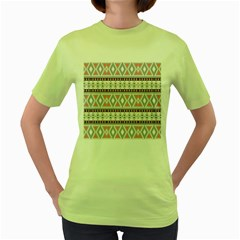 Fancy Tribal Border Pattern Soft Women s Green T-Shirt