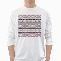 Fancy Tribal Border Pattern Soft White Long Sleeve T Shirts