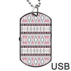 Fancy Tribal Border Pattern Soft Dog Tag USB Flash (One Side)