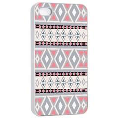 Fancy Tribal Border Pattern Soft Apple iPhone 4/4s Seamless Case (White)