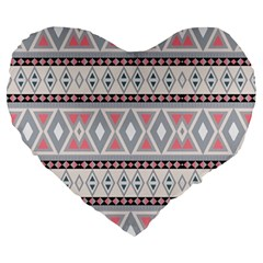Fancy Tribal Border Pattern Soft Large 19  Premium Flano Heart Shape Cushions