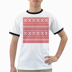 Fancy Tribal Borders Pink Ringer T Shirts