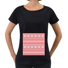 Fancy Tribal Borders Pink Women s Loose-Fit T-Shirt (Black)