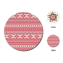 Fancy Tribal Borders Pink Playing Cards (round)