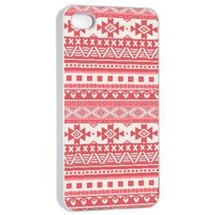 Fancy Tribal Borders Pink Apple iPhone 4/4s Seamless Case (White)