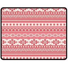 Fancy Tribal Borders Pink Double Sided Fleece Blanket (Medium)