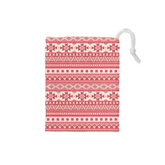 Fancy Tribal Borders Pink Drawstring Pouches (small)