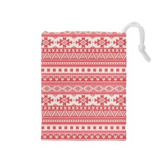 Fancy Tribal Borders Pink Drawstring Pouches (medium)