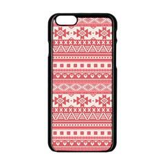Fancy Tribal Borders Pink Apple Iphone 6 Black Enamel Case