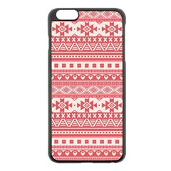 Fancy Tribal Borders Pink Apple Iphone 6 Plus Black Enamel Case