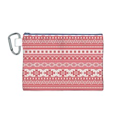 Fancy Tribal Borders Pink Canvas Cosmetic Bag (m)