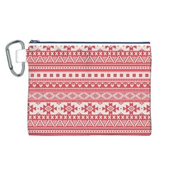Fancy Tribal Borders Pink Canvas Cosmetic Bag (L)