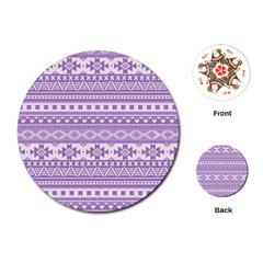 Fancy Tribal Borders Lilac Playing Cards (Round)