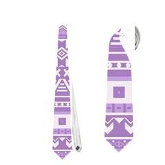 Fancy Tribal Borders Lilac Neckties (two Side)