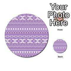 Fancy Tribal Borders Lilac Multi Purpose Cards (round)