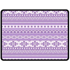 Fancy Tribal Borders Lilac Fleece Blanket (Large)