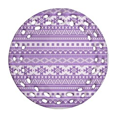 Fancy Tribal Borders Lilac Round Filigree Ornament (2Side)