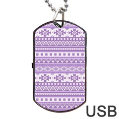 Fancy Tribal Borders Lilac Dog Tag USB Flash (One Side)