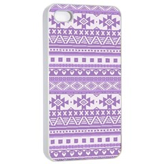 Fancy Tribal Borders Lilac Apple iPhone 4/4s Seamless Case (White)